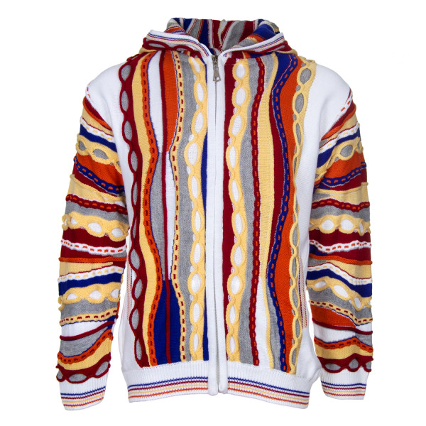CASCALLO Herren Strickjacke Kapuze Pullover Zopfmuster multicolor Jacke Giorgio (Vorne)